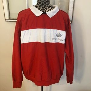 Vtg 90s Team Adidas Pullover White Red Black M-L
